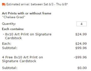 Art print receipt shutterfly