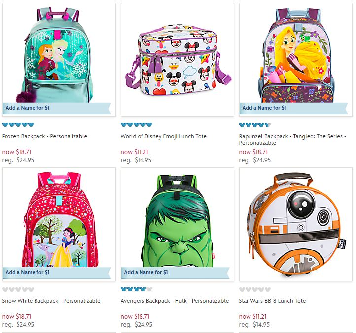 Disney store backpacks and lunch totes on sale