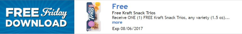 Kroger free friday kraft snack trios