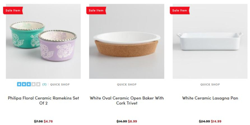World market bakeware 40% off 2
