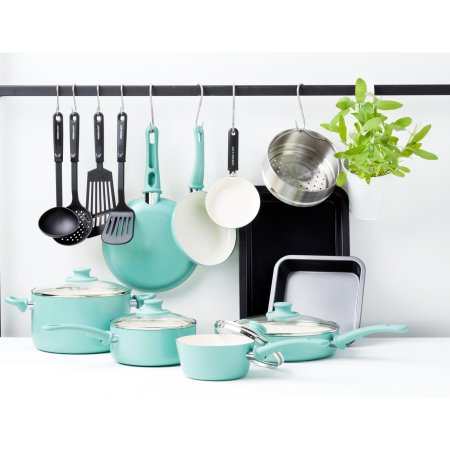 GreenLife Chef's Essentials Ceramic Non-Stick 18pc Cookware Set  Turquoise