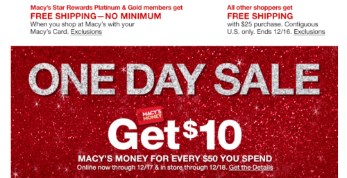 Macy's one day sale