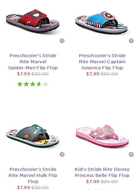 Stride Rite Kids Character Flip Flops $7.99