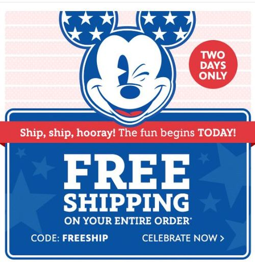 Disney Store Free shipping 4th of July