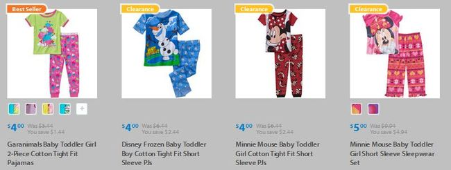 Walmart Pajamas for Boys or Girls $4/pair - Disney & More