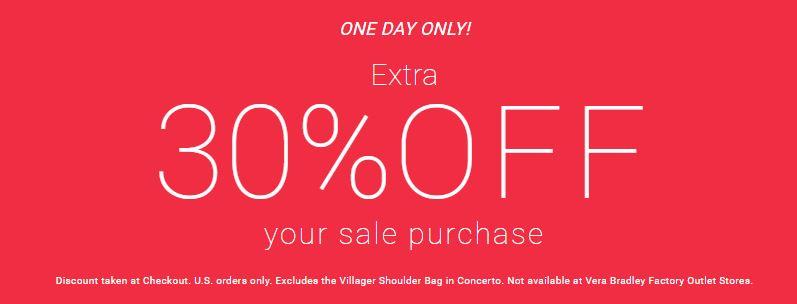 Vera bradley 30% off sale