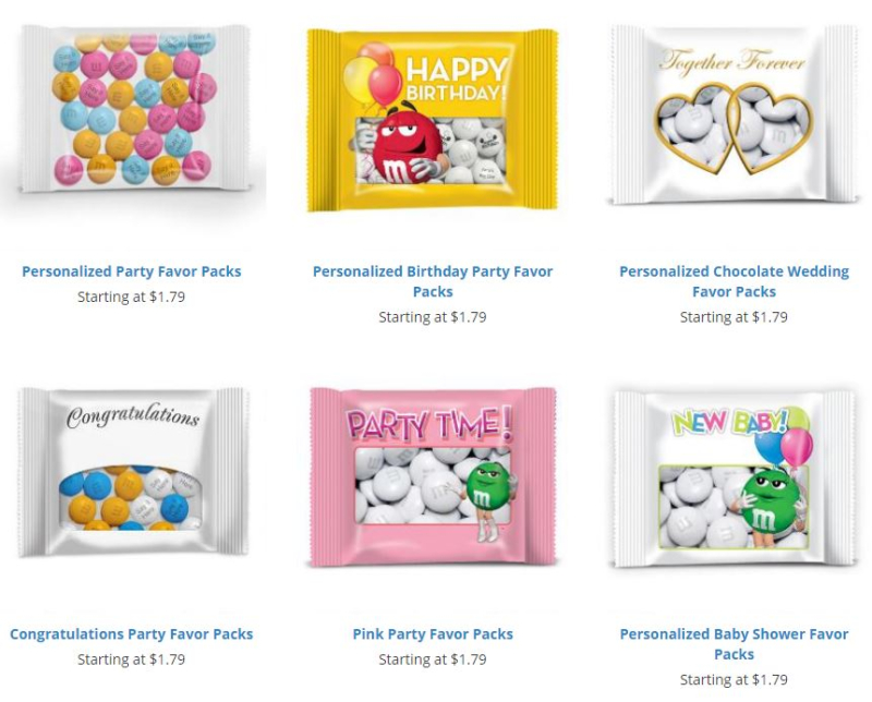 M&M mymms party favor packs
