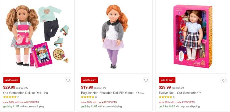 Target our generation dolls on sale deal