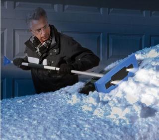 Snow Joe PRO Telescoping Snowbroom & Ice Scraper with 4 LED Lights