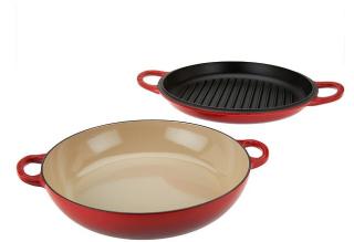 Le creuset 35qt cast iron multi function pan with gril lid recipes