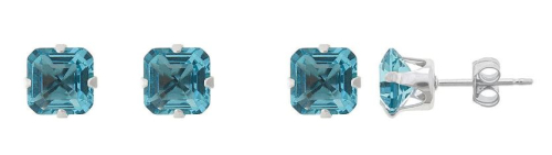 Sterling silver simulated blue topaz studs