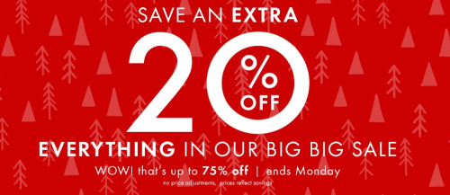 Hanna andersson extra 20% off big big sale