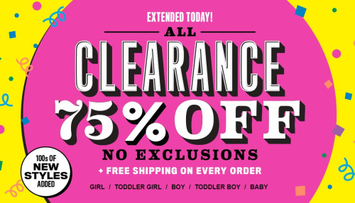 Childrens place free shipping 75% off clearance