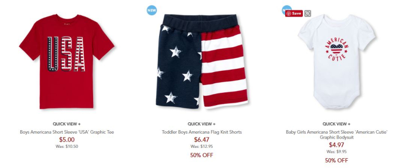 Children's place 50% off free shipping patriotic