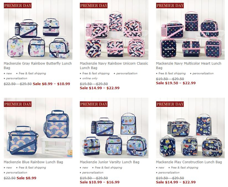 Pottery barn lunch bags boxes