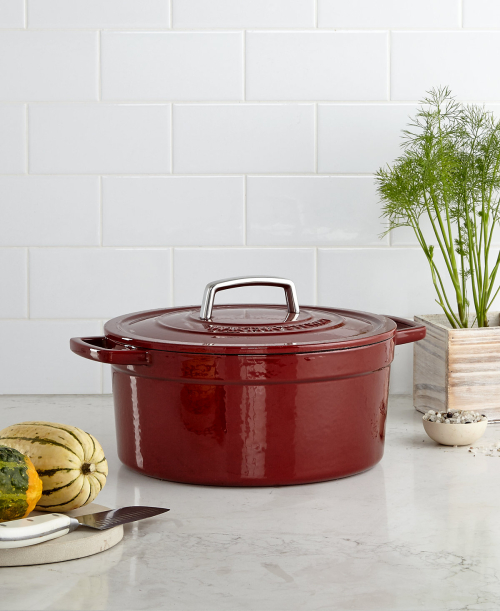 Martha Stewart Collection Enameled cast iron 6 qt round casserole