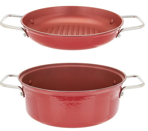 Cook's essentials 4 qt 2 in 1 lightweight cast iron pan