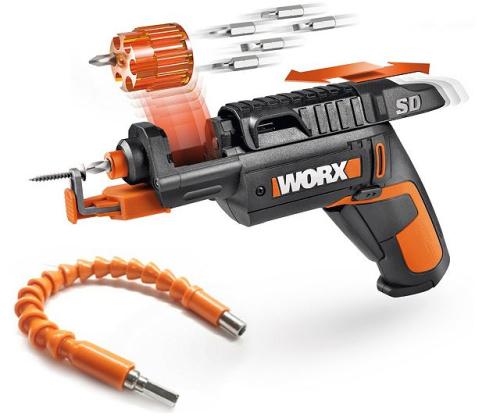 WORX 4V Lithium-Ion Screw Driver w Screw Holder  Flex Extender