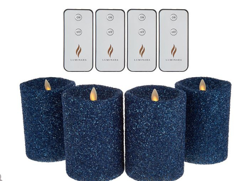 Luminara 4 pc Vintage Glitter  Flameless Pillar Candles Remotes blue