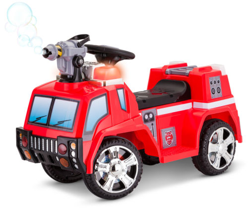 6V Fire Rescue Fire Engine Battery Powered Ride On Toddler Quad  Red