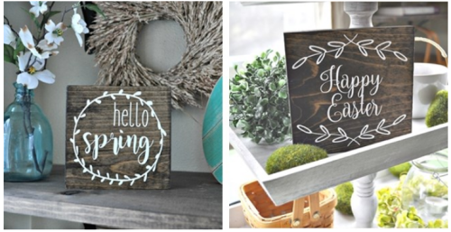Wooden spring signs