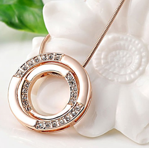 Rose Gold Plated Necklace Bicyclic Chain Necklace