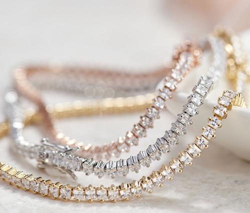 Diamonique Princess Cut Tennis Bracelet Sterling or 14K Gold Plated