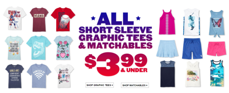 Children's place matchables and graphic tees $3.99