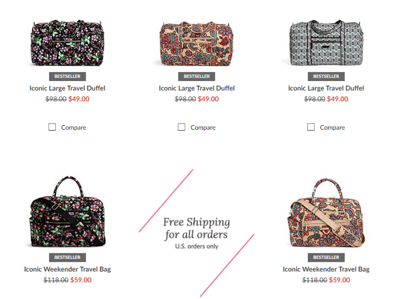 Vera Bradley 50% off Sale + Free Shipping on ALL orders - Items from  4  Shipped 7c5c6a72fda41