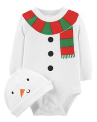 Carter's 2 piece snowman bodysuit and hat set