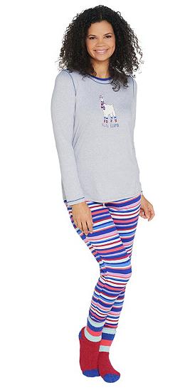Cuddl duds jersey pajamas llama