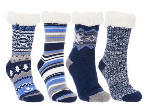 Muk Luks set of 4 jojoba infused faux shearling cabin socks