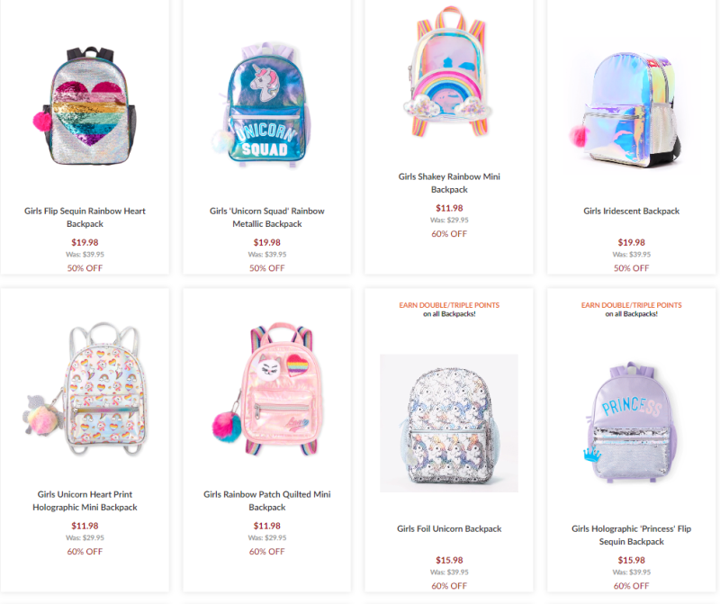 Children's place backpacks